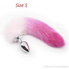 Plug Anal Rabo de Raposa - Pink e Branco