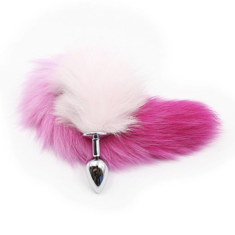Plug Anal de Aço Inox com Rabo de Raposa - Pink e Branco