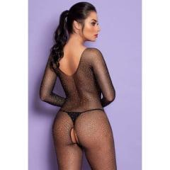 Macacão Inteiro Preto com Strass Sexy - Bodystocking Yaffa
